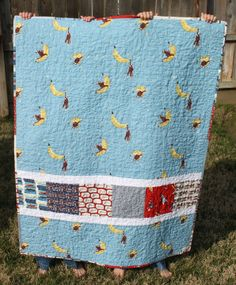 Back of baby boy quilt I made from Moda's Goodnight Monkey collection by Erin Michael