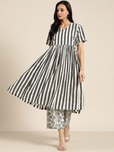Stunning Black & White Pure Cotton Striped Angrakha A-Line Kurta With Palazzos Online Indian Dresses For Girls, Girls Dresses, Palazzo Dress, Black Silk, Black And White, A Line Kurta, Salwar Kameez Online, Girl Online, Anarkali Suits