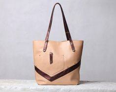 Beige leather bag. Nude / copper leather tote bag. by 5plus, $167.00