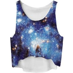 Blue Gradient High Low Galaxy Printed Fashion Ladies Crop Top ($6.84) ❤ liked on Polyvore featuring tops, galaxy, shirts, shirt crop top, galaxy print shirt, blue top, nebula shirt and galaxy print crop top