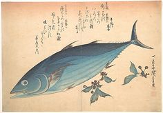 Katsuo Fish with Cherry Buds, from the series Uozukushi (Every Variety of Fish) Andô Hiroshige (Japanese, Period: Edo period Date: Culture: Japan Medium: Polychrome woodblock print; ink and color on paper Claude Monet, Japanese Prints, Japanese Art, Vincent Van Gogh, Pablo Picasso, Japanese Painting, Fish Art, Vintage Wall Art, Woodblock Print
