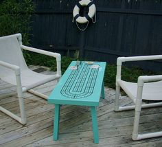 Cribbage Table, Handcrafted Cribbage Table, Turquoise Table, Cribbage Board…