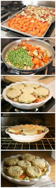 Lightened up chicken pot pie with pepper chive biscuits. The creamless ...