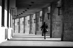 She's gone by Gaetano Cessati on #500px #Girl #Walking #Architecture #Olympiastadion #Olympic #BW #BlackAndWhite #Monochrome #Canon #StreetPhotography #HighContrast #Berlin #Conceptual