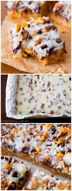 My Ultimate Magic Cookie Bars. Chocolate, butterscotch, coconut - all on top of a soft-baked graham cracker cookie! by carissa Baking Recipes, Cookie Recipes, Dessert Recipes, Just Desserts, Delicious Desserts, Yummy Food, Magic Cookie Bars, Magic Bars, Chocolates