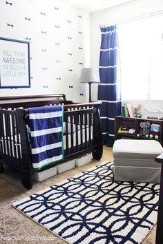 Blue and Green Nursery with Bowtie Wall