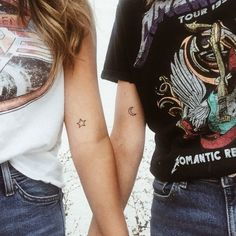 New tattoos!  Moon tattoo, star tattoo, best friend tattoos, matching tattoos, galaxy socal Cali California sister's band tee