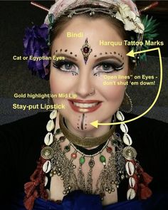 This is just an example of how Tribal Bellydancing make up is done if you are into the art form. Belly Dance Makeup, Belly Dance Outfit, Belly Dance Costumes, Tribal Fusion, Tribal Mode, Tribal Style, Tribal Fashion Style, Tribal Makeup, Egyptian Eye