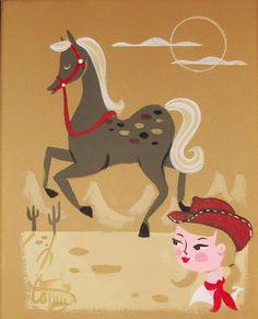 EL GATO GOMEZ PAINTING RETRO 1950S COWGIRL COWBOY HORSE WESTERN DESERT KITSCHY #Modernism