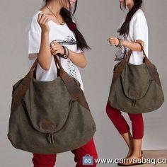 Large Capacity Shoulder Bag Leather Canvas Bag (1)