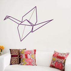 Washi tape origami crane wall art DIY