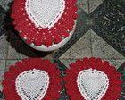 Jogo de Banheiro Coração de Crochê