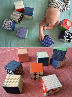 Tutorial for baby blocks with foam inside - these would keep their shape and stack better than those that are just stuffed.