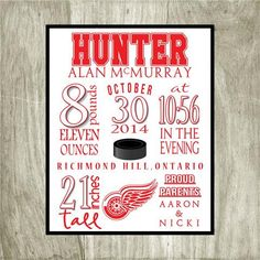 Birth Stat Personalized Detroit Red Wings by PaperDollDesigns14