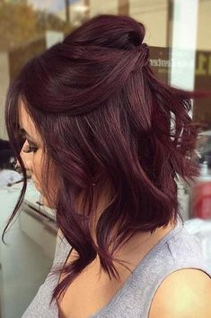 10 Seriously Easy Hairstyles For Short Hair Hair Color dark red hair color Hair Color Balayage, Ombre Hair Color, Violet Red Hair Color, Mahagony Hair Color, Dark Red Haircolor, Subtle Balayage, Pelo Color Vino, Wine Hair, Hair Color For Women