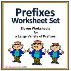 Prefixes Worksheet Set - Practice worksheets for lots of prefixes, see ...