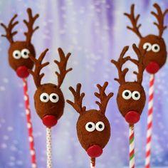 No bake oatmeal raisin reindeer - Raising reindeers. Adorable looking raisins in guise of red nosed reindeers. Perfect for Christmas parties as little treats.