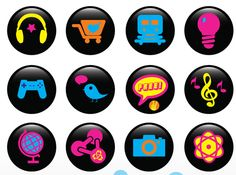 Vector signs, Illustrator symbols, buttons, illustrations and clip art icons in vector art format, free to download. Colorful collection of vectors: lights, globe, stars explosion, atom, metro train, music notes, Twitter bird, Hummer, sunglasses, speech balloons, photo camera and people silhouettes.