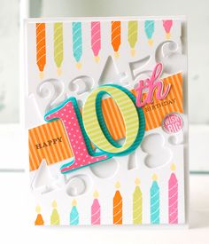 PTI-10th-Birthday Stamps: Inside & Out: Birthday II, Bitty Background Blocks II, Wishes Come True Ink: Orange Zest, Limeade Ice, Hawaiian Shores, Hibiscus Burst, Harvest Gold, True Black Cardstock: Stamper's Select White, Hawaiian Shores, Hibiscus Dies: By the Numbers, By the Numbers Mats, By the Numbers Border, Suffix Style Other: Orange Zest, Limeade Ice, Hibiscus Burst Pattern Pack papers