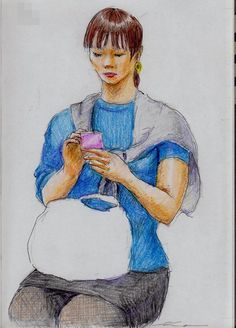 A woman I saw on the train going to work.  This is a sketch of a woman wearing a blue shirt.  『青いシャツのお姉さん(通勤電車でスケッチ)』