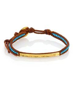 Chan Luu - Turquoise &; Leather Beaded Bar Bracelet