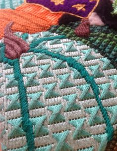It's not your Grandmother's Needlepoint  Love this pumpkin stitch.