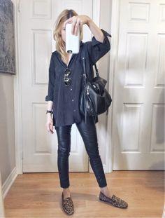 Black shirt+black leather pants+leopard print loafers+black shoulder  bag+sunglasses 1f78197d3