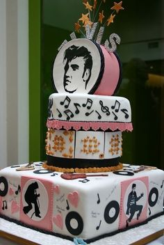 3 tier pink and white Elvis theme birthday cake