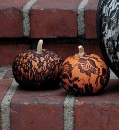 Pumpkins and Lace. Hot glue it on and leave it that way, or, break out the spray paint and then remove the lace ;)