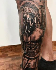 What does gladiator tattoo mean? We have gladiator tattoo ideas, designs, symbolism and we explain the meaning behind the tattoo. Warrior Tattoo Sleeve, Leg Sleeve Tattoo, Warrior Tattoos, Leg Tattoo Men, Best Sleeve Tattoos, Badass Tattoos, Tattoo Sleeve Designs, Leg Tattoos, Tattoos For Guys