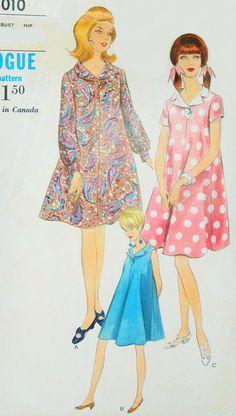 Mod 60s MATERNITY Tent Dress Vogue 7010 Vintage