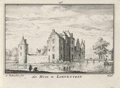 Abraham Rademaker | Huis Doorn, Abraham Rademaker, Roelant Roghman, Willem Barents, 1727 - 1733 | Gezicht op Huis Doorn, met rechts een ophaalbrug, in de situatie omstreeks 1636. Op de voorgrond  twee figuren.