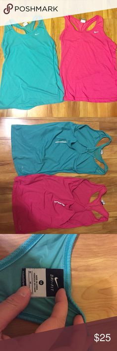 Nike Dri-Fit Tops Two Nike Dri-Fit workout tank tops in a size M. Only worn a handful of times, they are still in great condition. It comes with a cute cut out in the back as well as reflectors. Very soft as well! Nike Tops Tank Tops