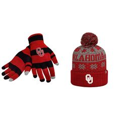 NCAA Oklahoma Sooners Glove Stripe Knit And Subartic Beanie Hat 2 Pack 56458