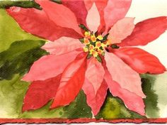Susie Short's Watercolor Christmas Cards - Painting Poinsettias