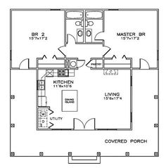 Southern Style House Plan 72317 with 2 Bed, 2 Bath First Floor Plan of Cottage Florida Southern House Plan 72317 Main Living Area: Southern House Plans, Tiny House Plans, Southern Homes, Southern Style, Small House Plans Under 1000 Sq Ft, Pool House Plans, Southern Cottage, Tiny Cottage Floor Plans, Country Homes
