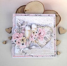 Mixed Media Cards, Mixed Media Collage, Pretty Cards, Cute Cards, Wedding Paper, Wedding Cards, Diy And Crafts, Paper Crafts, Kindergarten Crafts