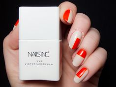 Color blocked nail art featuring Judo Red and Bamboo White from the Victoria, Victoria Beckham x Nails Inc. Nail Designs 2015, Best Nail Art Designs, Fall Nail Designs, Nails Inc, Victoria Beckham, Chloe Nails, Red And White Nails, Color Block Nails, Chalkboard Nails