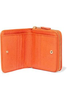 Balenciaga - Embossed Textured-leather Wallet - Orange - one size