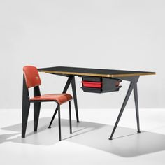 jean prouvé, curved compass desk and standard chair (1953)