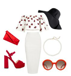 Red by michelle-notter on Polyvore featuring polyvore, fashion, style, House of Holland, Rick Owens, Prada, Diane Von Furstenberg, Saks Fifth Avenue, Alexander McQueen and clothing