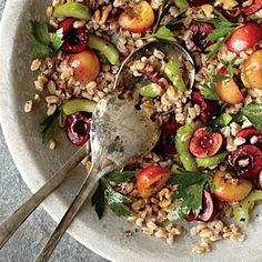 Farro, Cherry, and Walnut Salad | MyRecipes.com *Doubled dressing with half lemon juice/half red wine vinegar for acid. Also added garlic powder and green onions. Substituted barley as farro was unavailable.