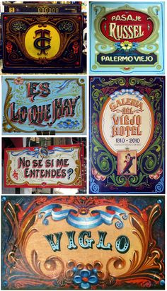 Buenos Aires fileteado (hand-painted type) This exists there? Vintage Graphic Design, Vintage Type, Vintage Signs, Vintage Typography, Typography Letters, Typography Design, Painted Letters, Hand Painted Signs, Typographie Inspiration
