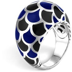 John Hardy Naga Sterling Silver Enamel Dome Ring with Black and Blue... ($395) ❤ liked on Polyvore featuring jewelry, rings, silver, blue enamel ring, dome ring, enamel jewelry, kohl jewelry and john hardy rings