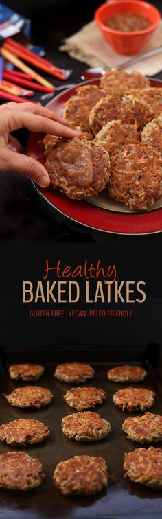 No need to spend hours frying and smelling up your house with these Easy and Healthy Baked Latkes. They're perfect for Hanukkah or a delicious dinner side recipe. You would never know they're gluten-free and vegan too! ET: Neat idea, but not for kids. Vegan Foods, Vegan Snacks, Vegan Dinners, Healthy Snacks, Hanukkah Food, Hannukah, Hanukkah Recipes, Whole Food Recipes, Cooking Recipes