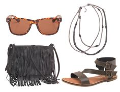 Simple and chic. Fringe bags, gladiator sandals and wayfarer sunglasses. You can't go wrong.