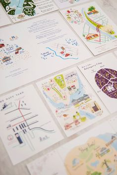 Custom Wedding Stationery // illustrated maps por JollyEdition