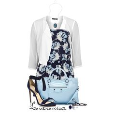 """Dorothy Perkins Blue Floral Playsuit"" by loveronica on Polyvore"