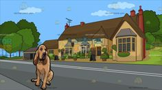 An Obedient Bloodhound Pet Dog With A Countryside Pub Background :  A dog with brown short fur long ears and droopy eyes sits on the floor to rest as it observes the things around and A house along a quiet road with yellowish beige walls brown roofing and red chimneys television antenna plants and flowers in pots surrounding the front porch