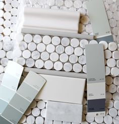 I Love penny tile! Carrara penny-round tile trimmed with chair rail, liner, white subway tile walls, gray & soft robins egg blue paint Decoration Inspiration, Bathroom Inspiration, Decor Ideas, Robins Egg Blue Paint, Penny Round Tiles, Penny Tile, Penny Backsplash, Master Bath Remodel, Remodel Bathroom